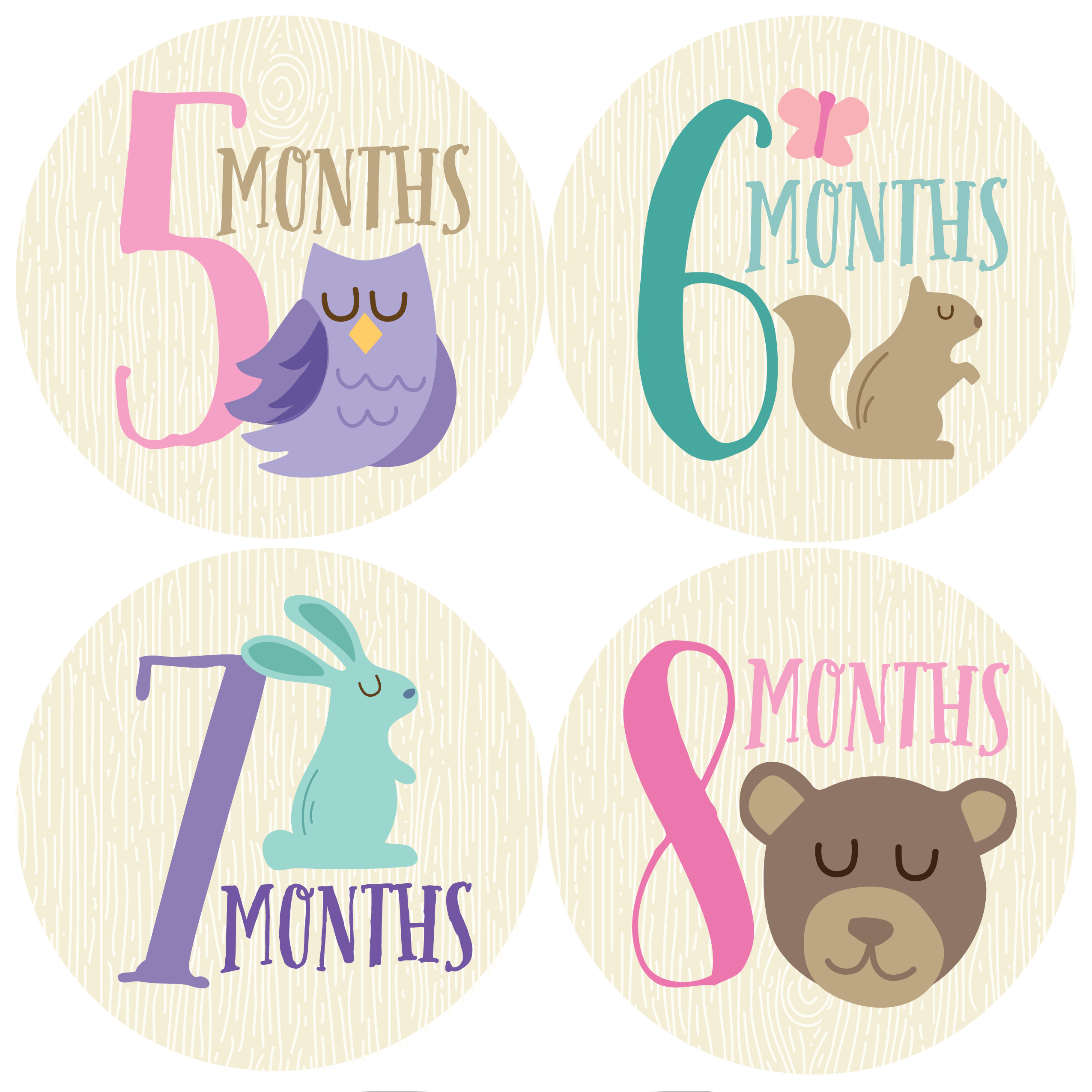 Woodland Girl Monthly Stickers Months 1 12