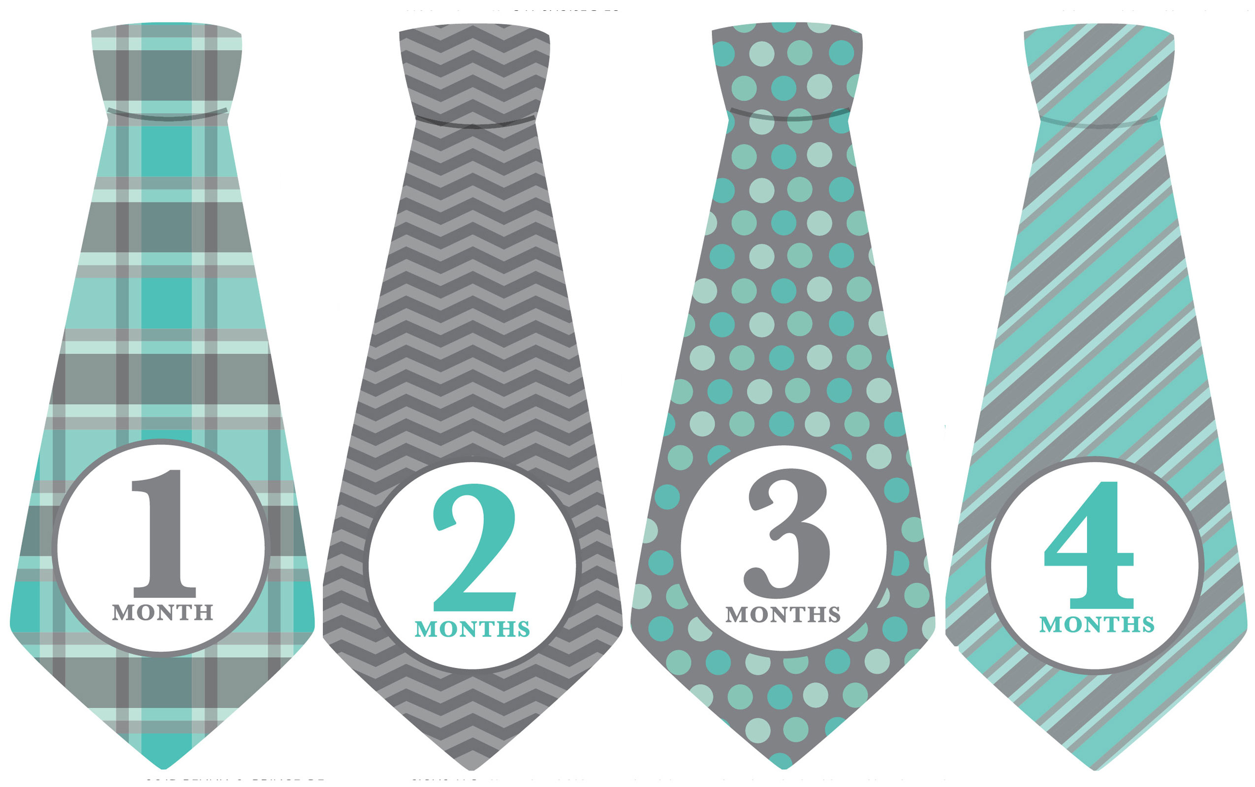 Blue Gray Ties Monthly Baby Stickers Months 1 12