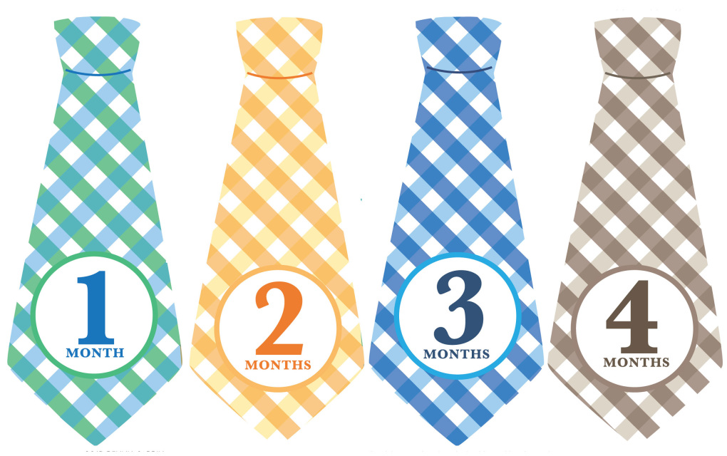 Plaid Ties Monthly Baby Stickers Months 1 12